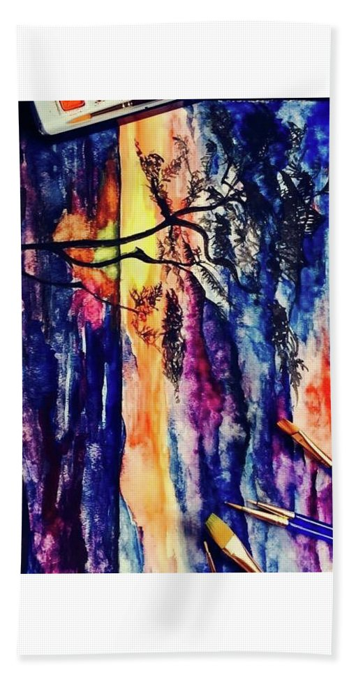 Watercolour Bath Sheet featuring the painting Indian Summer Watercolour Framed Handmade Painting by Aonushka Aeron