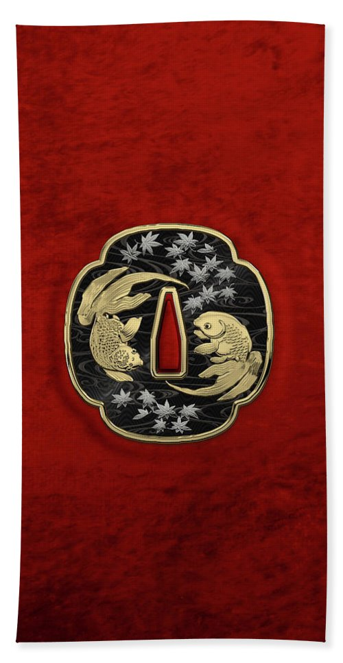 'treasures Of Japan' Collection By Serge Averbukh Bath Towel featuring the photograph Japanese Katana Tsuba - Twin Gold Fish on Black Steel over Red Velvet by Serge Averbukh
