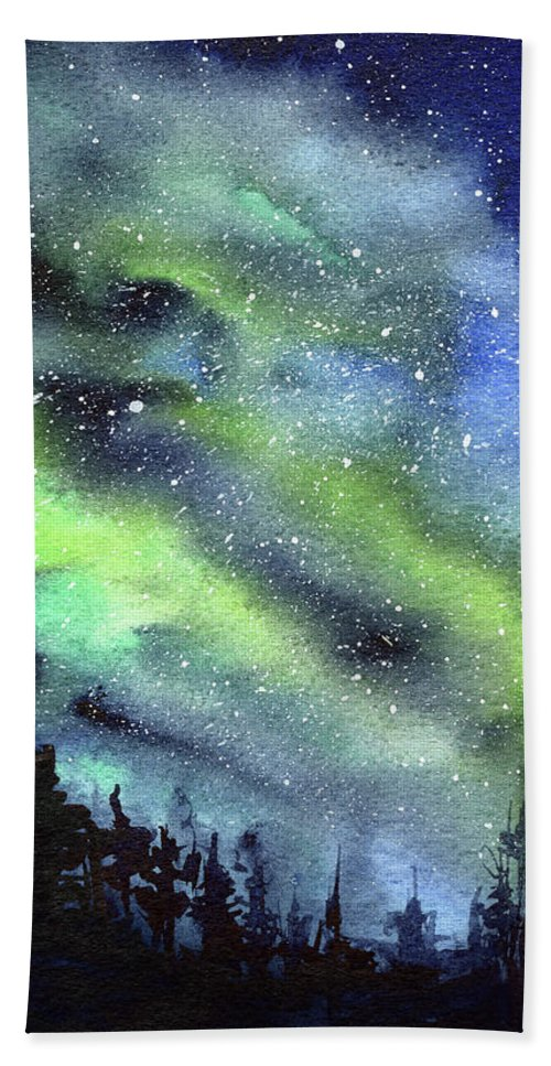 Watercolor Galaxy Hand Towel featuring the painting Galaxy Watercolor Nebula Northern Lights by Olga Shvartsur