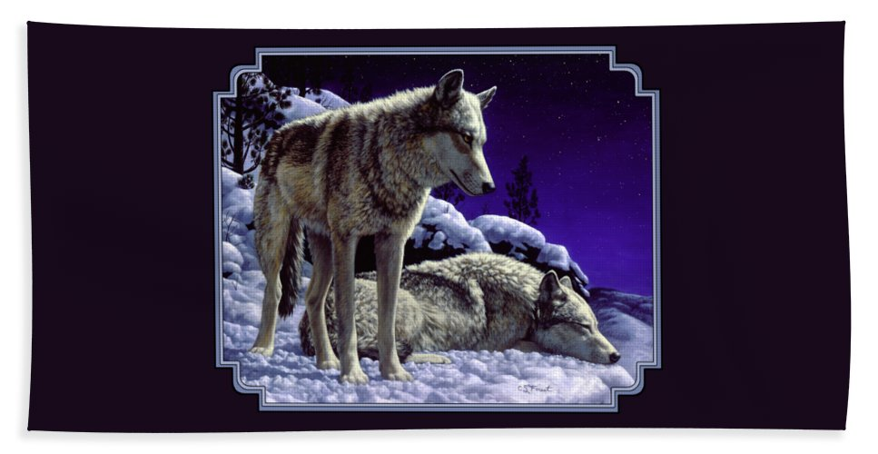Wolf Bath Towel featuring the painting Wolf Painting - Night Watch by Crista Forest