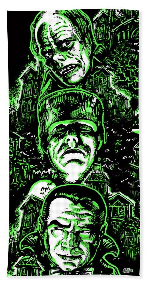 Horror Movies Hand Towel featuring the digital art House Of Monsters Frankenstein Dracula Phantom Horror Movie Art by Scott Jackson