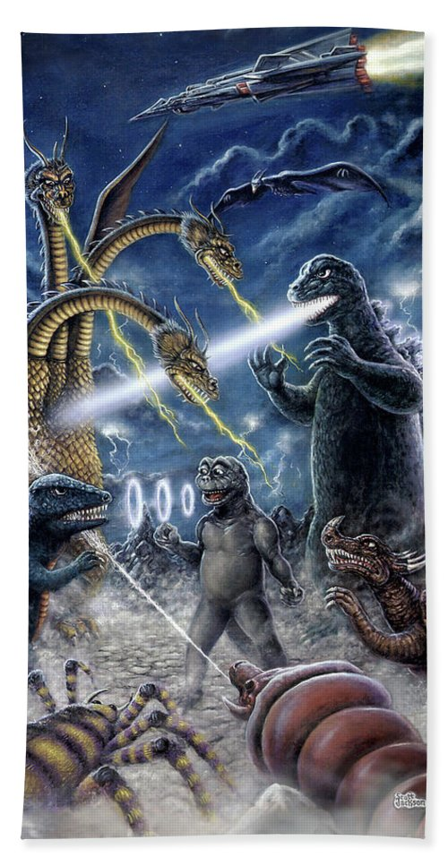 Art & Collectibles Hand Towel featuring the painting Destroy All Monsters Godzilla Kaiju Battle Monster Island by Scott Jackson