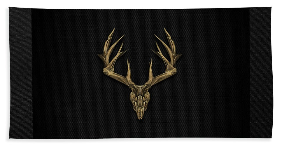 """""""antlered Skulls"""" Collection By Serge Averbukh Bath Towel featuring the digital art Antlered Skulls - Gold Deer Skull X-ray Over Black Canvas No.1 by Serge Averbukh"""