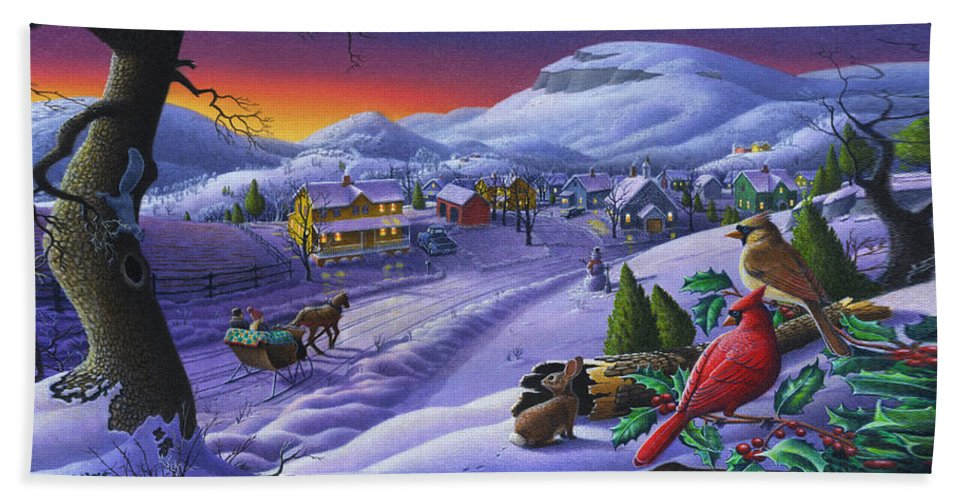 Christmas Bath Towel featuring the painting Christmas Sleigh Ride Winter Landscape Oil Painting - Cardinals Country Farm - Small Town Folk Art by Walt Curlee