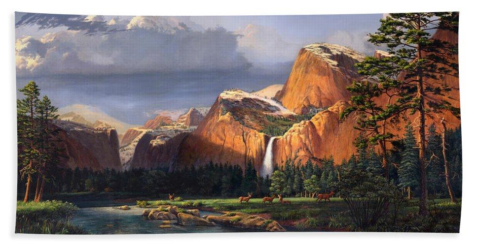 American Bath Towel featuring the painting Deer Meadow Mountains Western Stream Deer Waterfall Landscape Oil Painting Stormy Sky Snow Scene by Walt Curlee
