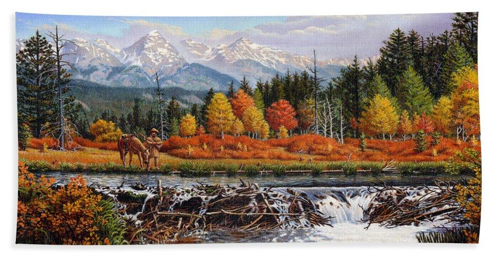Western Mountain Landscape Bath Sheet featuring the painting Western Mountain Landscape Autumn Mountain Man Trapper Beaver Dam Frontier Americana Oil Painting by Walt Curlee