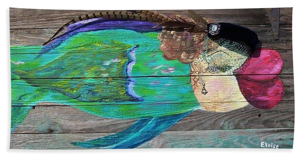 Fish Bath Sheet featuring the painting All Dressed Up And Nowhere To Swim by Eloise Schneider Mote