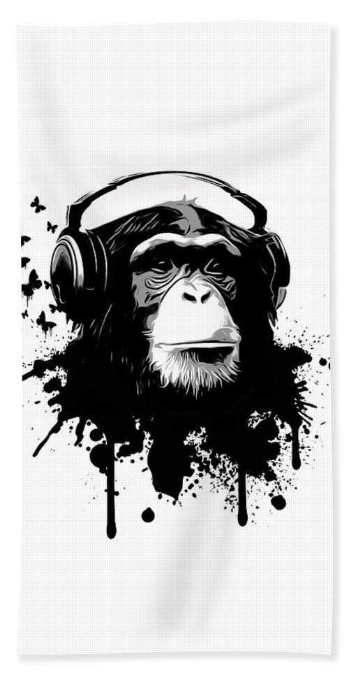 Ape Hand Towel featuring the digital art Monkey Business by Nicklas Gustafsson