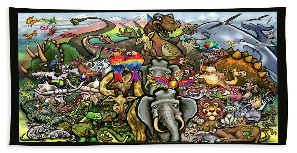 Animal Bath Sheet featuring the painting All Creatures Great Small by Kevin Middleton