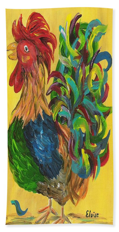 Rooster Bath Sheet featuring the painting Plucky Rooster by Eloise Schneider Mote
