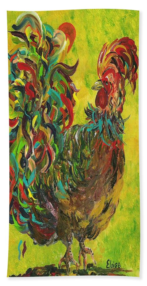 Rooster Bath Sheet featuring the painting De Colores Rooster #2 by Eloise Schneider Mote