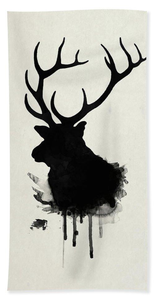 Elk Bath Towel featuring the drawing Elk by Nicklas Gustafsson