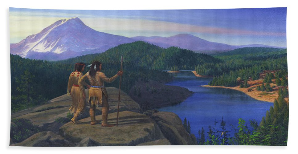 Native American Indians Hand Towel featuring the painting Native American Indian Maiden And Warrior Watching Bear Western Mountain Landscape by Walt Curlee