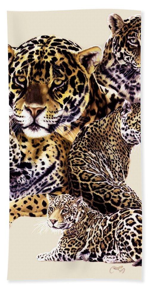 Jaguar Bath Sheet featuring the drawing Burn by Barbara Keith