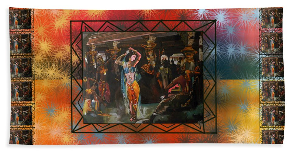 Wallpaper Bath Sheet featuring the painting Amrapali by Artist Nandika Dutt