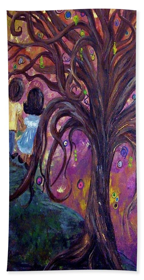 Child Bath Sheet featuring the painting Children Under The Fantasy Tree With Jackie Joyner-kersee by Eloise Schneider Mote