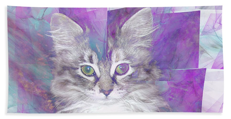 Fur Ball Bath Sheet featuring the digital art Fur Ball - Square Version by John Beck