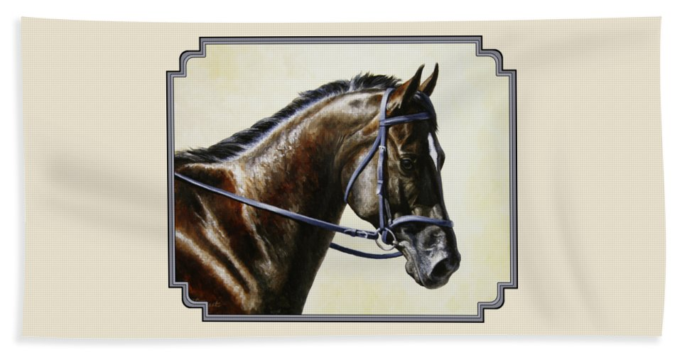 Horse Bath Towel featuring the painting Dressage Horse - Concentration by Crista Forest