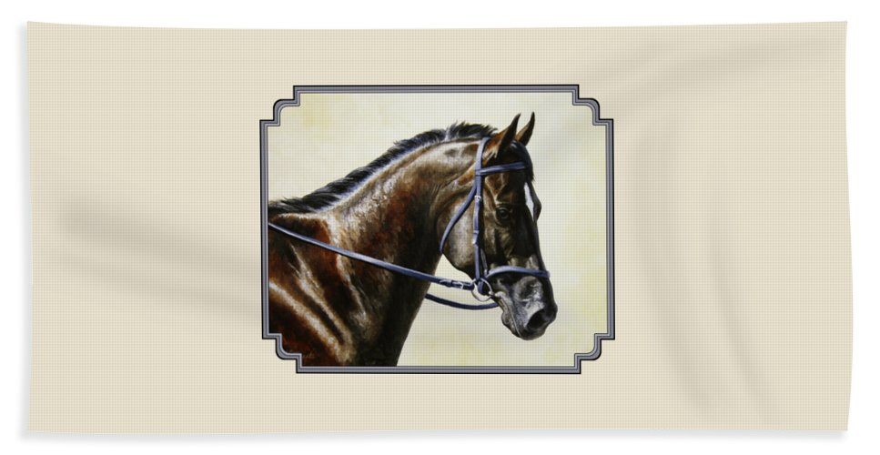 Horse Hand Towel featuring the painting Dressage Horse - Concentration by Crista Forest