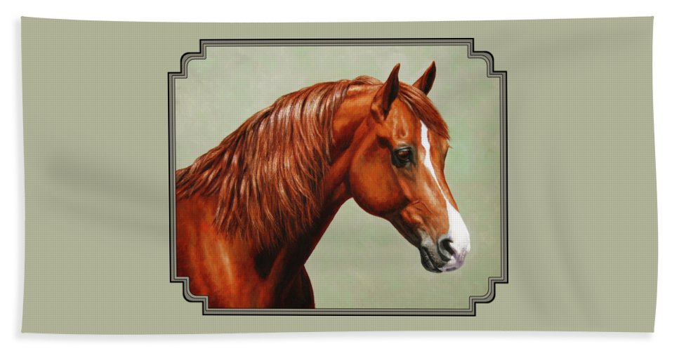 Horse Hand Towel featuring the painting Morgan Horse - Flame by Crista Forest