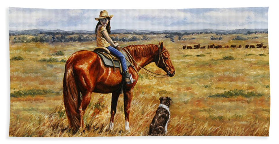 Western Bath Towel featuring the painting Horse Painting - Waiting For Dad by Crista Forest