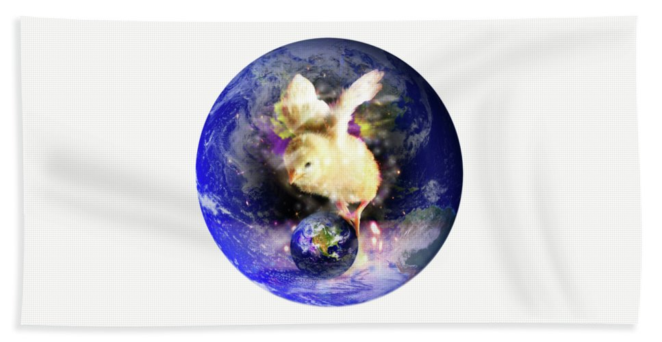 Chick Hand Towel featuring the digital art Earth Chick by Gravityx9 Designs