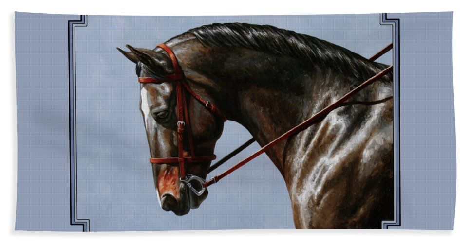 Horse Hand Towel featuring the painting Horse Painting - Discipline by Crista Forest