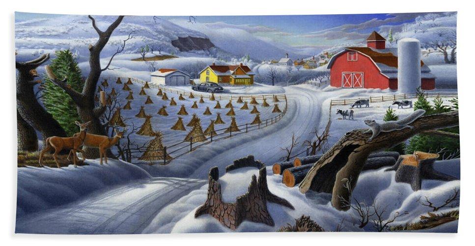 Folk Art Bath Sheet featuring the painting Folk Art Winter Landscape by Walt Curlee