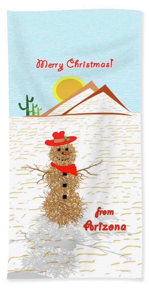 Tumbleweed Snowman Christmas Card Hand Towel featuring the painting Arizona Tumbleweed Snowman by Methune Hively