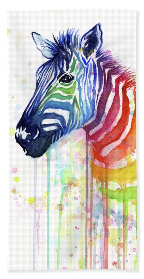 Rainbow Bath Towel featuring the painting Rainbow Zebra - Ode to Fruit Stripes by Olga Shvartsur