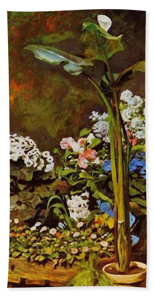 Arum Hand Towel featuring the painting Arum And Conservatory Plants 1864 by Renoir PierreAuguste