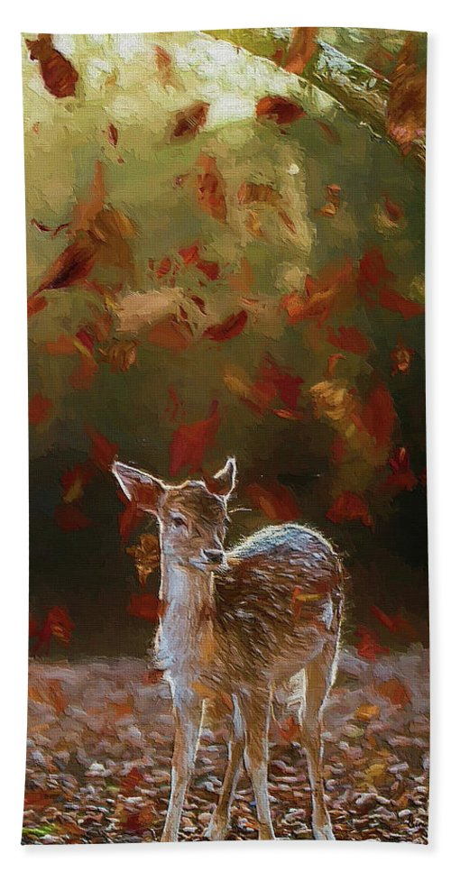 Deer Hand Towel featuring the photograph As The Leaves Fall - Painting by Ericamaxine Price