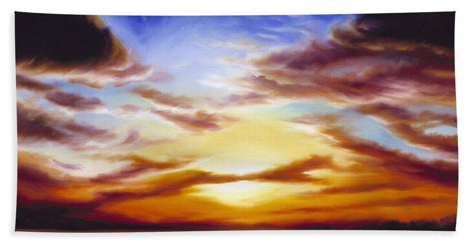 Skyscape Bath Sheet featuring the painting As The Sun Sets by James Christopher Hill
