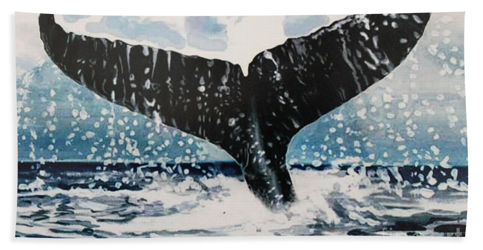 Ocean Hand Towel featuring the painting Ascend by Elizabeth Robinette Tyndall