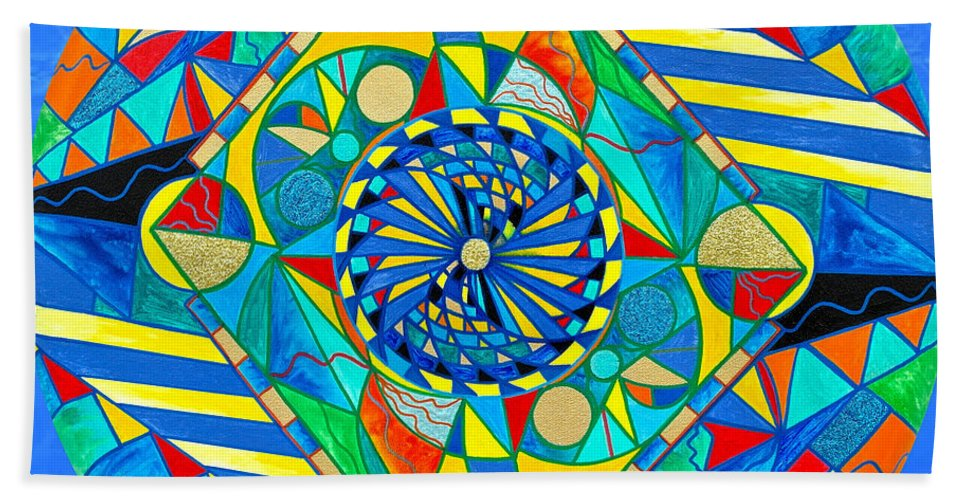 Vibration Hand Towel featuring the painting Ascended Reunion by Teal Eye Print Store
