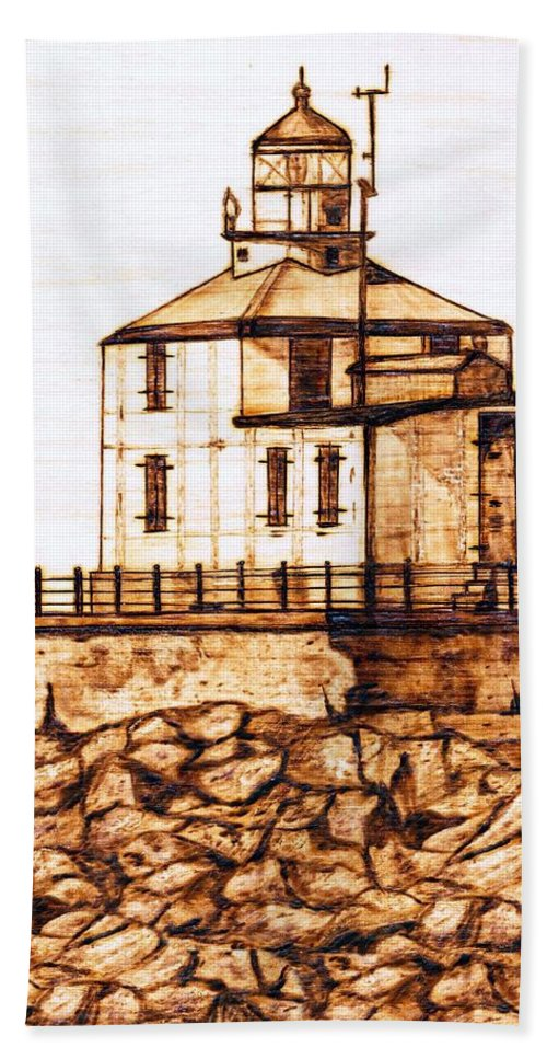 Lighthouse Hand Towel featuring the pyrography Ashtabula Harbor by Danette Smith