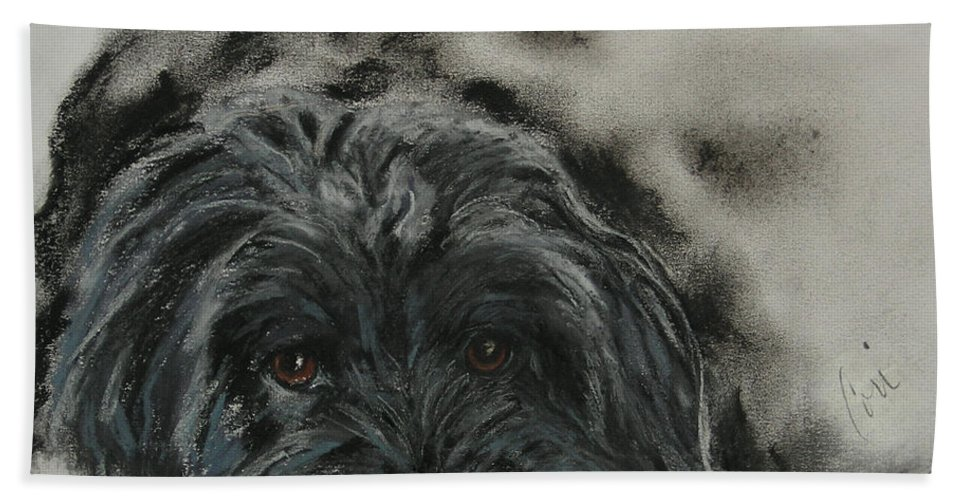 Dog Hand Towel featuring the drawing Asia by Cori Solomon