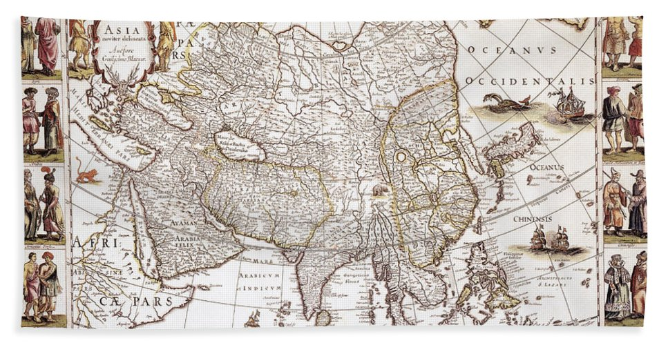 1618 Hand Towel featuring the photograph Asia: Map, C1618 by Granger