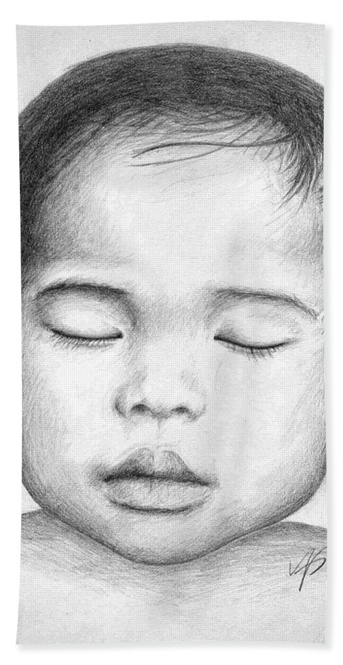 Baby Bath Towel featuring the drawing Asian Baby by Nicole Zeug