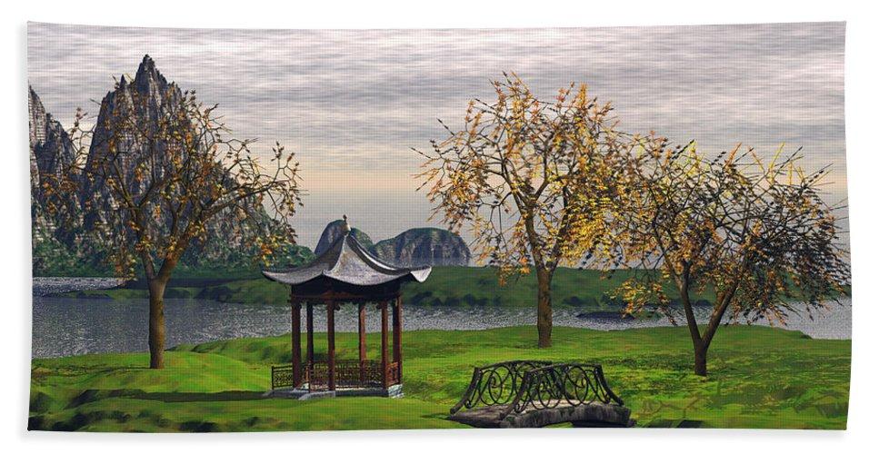 Landscape Hand Towel featuring the digital art Asian Landscape by John Junek
