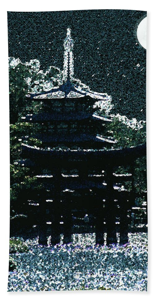 Full Moon Bath Towel featuring the mixed media Asian Moon by Shirley Heyn
