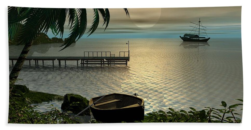 Landscape Bath Towel featuring the digital art Asian Sunset Scene by John Junek
