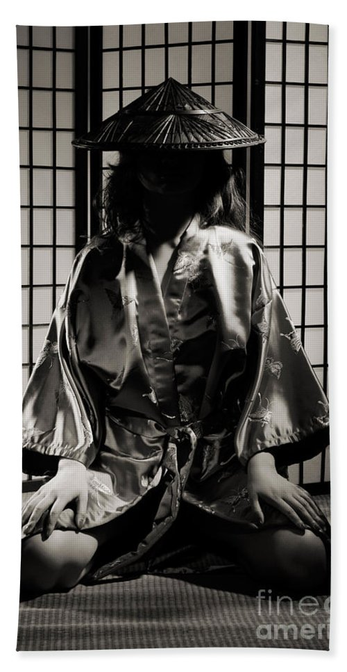 Asian Hand Towel featuring the photograph Asian Woman In Kimono by Oleksiy Maksymenko