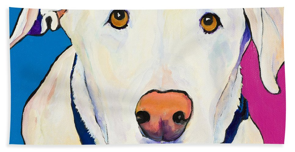 White Lab Yellow Lab Animal Paintings Golden Eyes Square Format Dogs Pets Rescued Bath Towel featuring the painting Aslinn by Pat Saunders-White