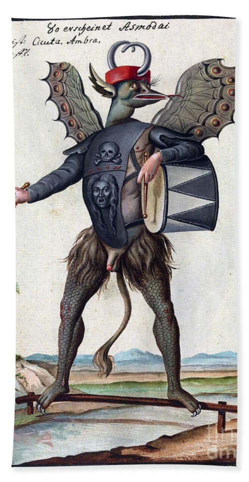 History Hand Towel featuring the photograph Asmodeus, King Of Demons, 18th Century by Wellcome Images