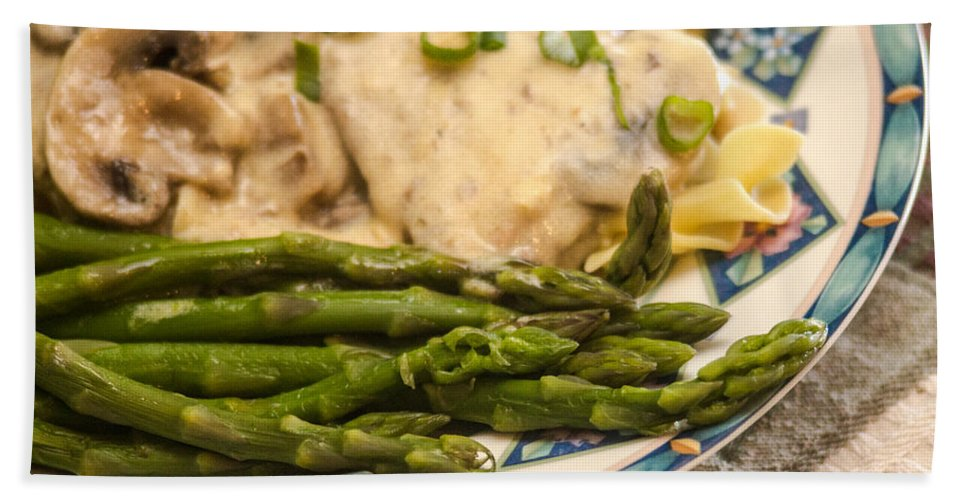 Dinner Hand Towel featuring the photograph Asparagus And Stroganoff by Valerie Loop