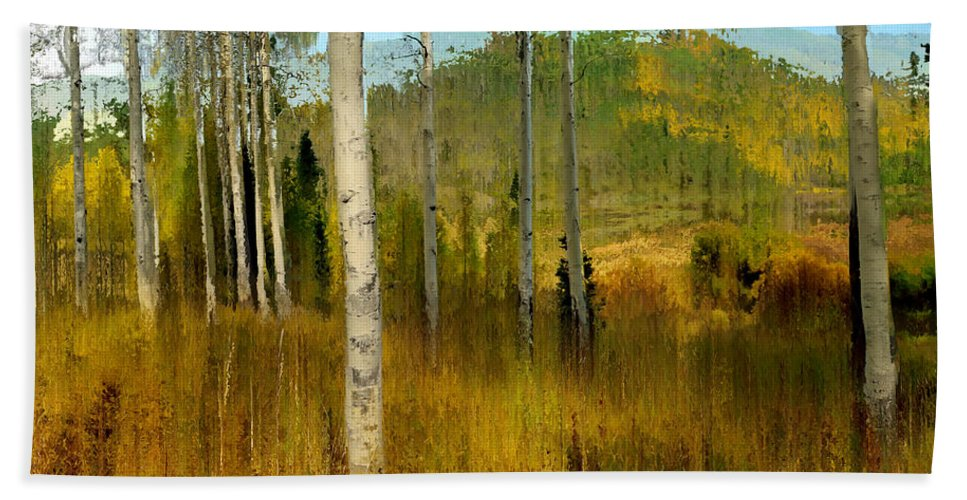 Contemporary Hand Towel featuring the digital art Aspen Forest Shear I by Ronald Bolokofsky