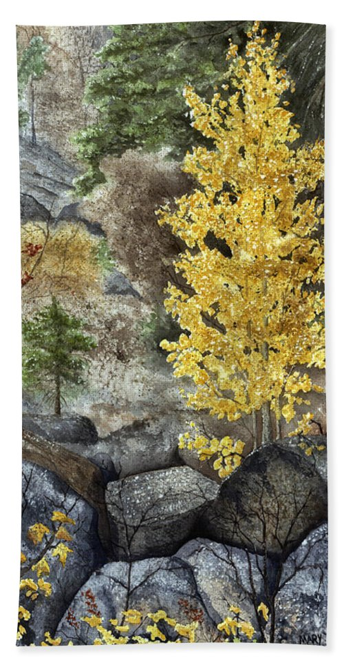 Autumn Bath Towel featuring the painting Aspen Gold by Mary Tuomi