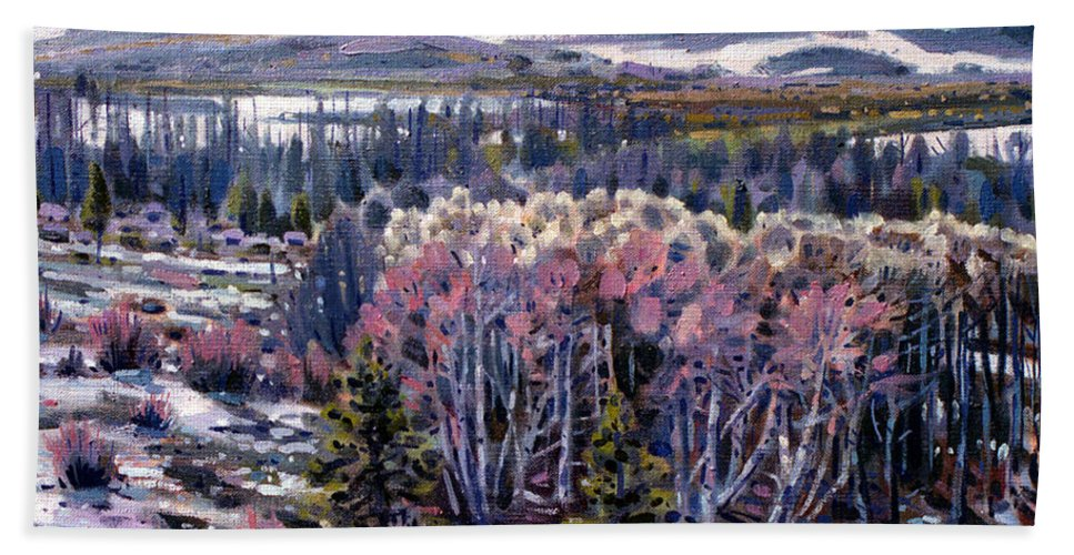Aspen Bath Sheet featuring the painting Aspen In April by Donald Maier