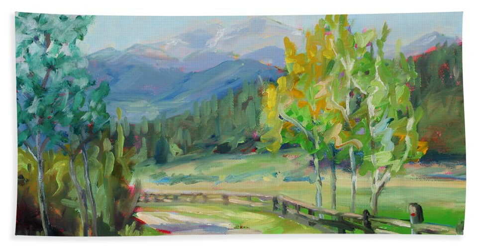 Rocky Mountains Bath Sheet featuring the painting Aspen Lane by Marie Massey